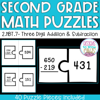 2.NBT.7 Puzzle Matching Activity- Three Digit Addition and Subtraction