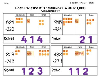 2.NBT.7 Subtract within 1,000 Using the Base Ten Strategy (No Regrouping)