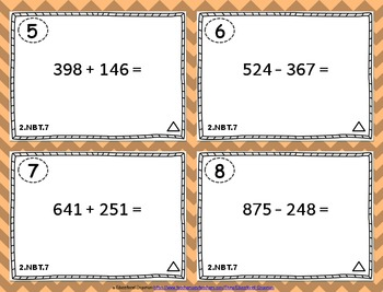 2.NBT.7 Task Cards ⭐ Adding and Subtracting within 1000 - Centers