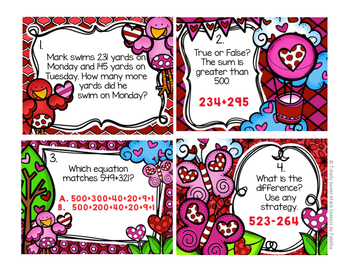 2.NBT.7 Valentine Seat Scoot Class Activity- Addition / Subtraction to 1000