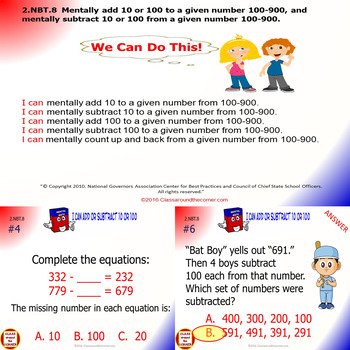 2.NBT.8 Math Interactive Test Prep – Mentally Add or Subtract in 3 Formats