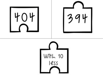 2.NBT.8 Puzzle Matching Activity- Adding & Subtracting 10 and 100