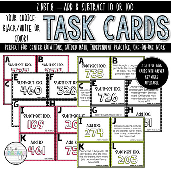 2.NBT.8 Task Cards | Add & Subtract 10 or 100