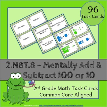 2.NBT.8 Task Cards: Mentally Add and Subtract 100 or 10 Task Cards 2NBT8 Centers