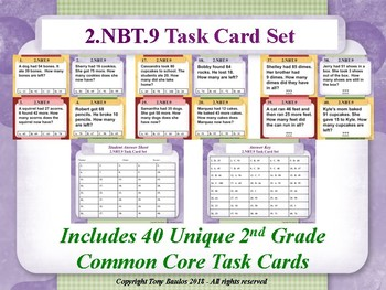 2.NBT.9 2nd Grade Math Task Cards - 2 NBT.9 Addition & Subtraction Word Problems
