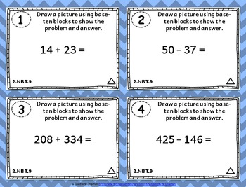 2.NBT.9 Task Cards: Explain Addition and Subtraction Strategies Task Cards 2NBT9