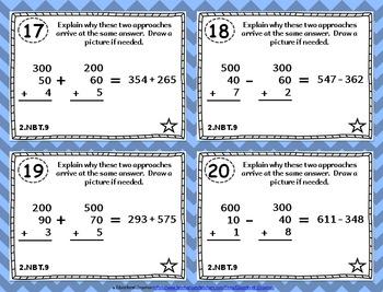 2.NBT.9 Task Cards: Explain Addition and Subtraction Strategies Task Cards 2NBT9