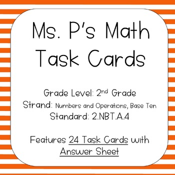 2.NBT.A.4 Compare 3-Digit Numbers Task Cards