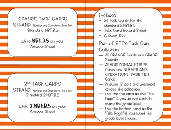 2.NBT.B.5 Add and Subtract within 100 Task Cards