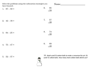 2.NBT.B.5 Addition / Subtraction within 100 Assessment and Practice
