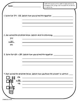 2.NBT.B.9 Assessments - Explain How Addition & Subtraction Strategies Work