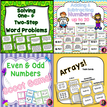 2.OA.1, 2.OA.2, 2.OA.3, and 2.OA.4 Task Cards Bundle