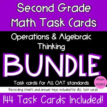 Second Grade Math Task Cards Bundle- 2.OA.1, 2.OA.2, 2.OA.3, and 2.OA.4