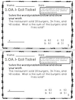 2.OA.1 Exit Tickets