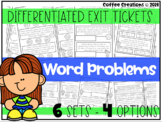 2.OA.1 - Word Problems Exit Tickets (differentiated)