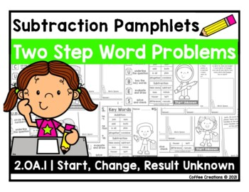 2.OA.1 - Subtraction Word Problem Pamphlets - Two Steps