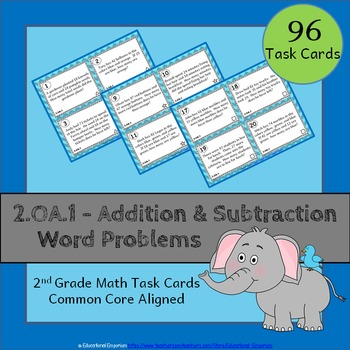 2.OA.1 Task Cards: Addition & Subtraction Word Problems (S