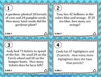 2.OA.1 Task Cards: Addition and Subtraction Word Problems Task Cards 2.OA.1