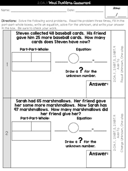 2.OA.1 Word Problems Cumulative Assessment 2nd Grade Common Core