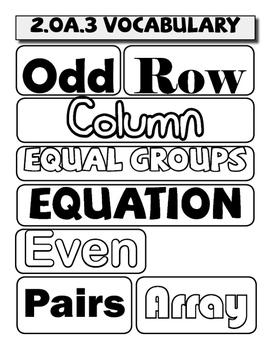 Math Wall Words - 2.OA.1 through 4 and  2.NBT.1 through 9