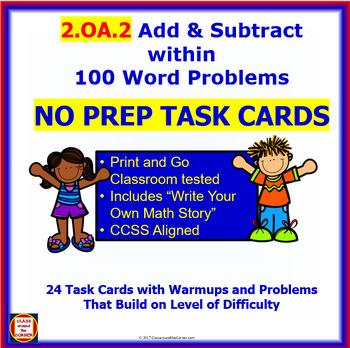 2.OA.2 Math NO PREP Task Cards— ADD & SUBTRACT USING MENTAL STRATEGIES