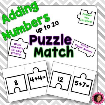 2.OA.2 Puzzle Matching Activity- Addition