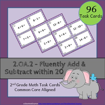 2.OA.2 Task Cards - Adding and Subtracting within 20 (Seco