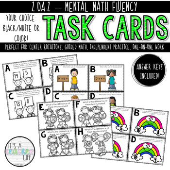 2.OA.2 Task Cards | Mental Math Fluency within 20