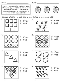 2.OA.3 Assessments- Even & Odd Numbers
