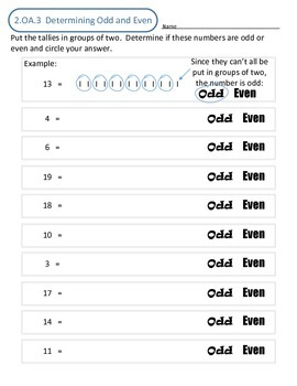 2.OA.3 Determining odd and even numbers by pairing