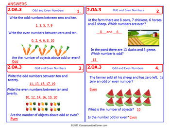 2.OA.3 Math NO PREP Task Cards— ODD OR EVEN NUMBERS