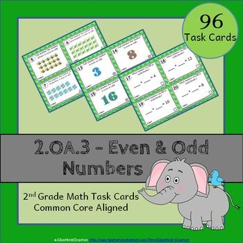 2.OA.3 Task Cards: Even and Odd Numbers Task Cards 2OA3: E