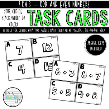 2.OA.3 Task Cards | Odd & Even