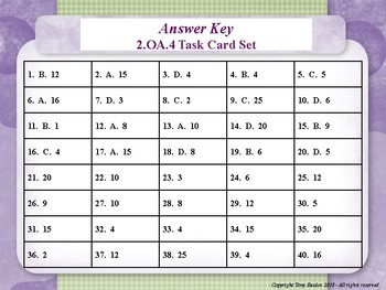 2.OA.4 2nd Grade Math Task Cards - Operations and Algebraic Thinking