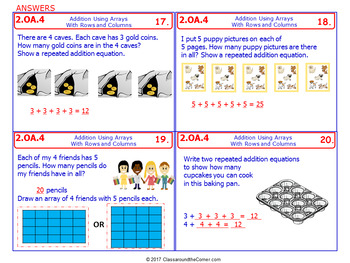 2.OA.4 Math NO PREP Task Cards— ARRAYS: ROWS & COLUMNS