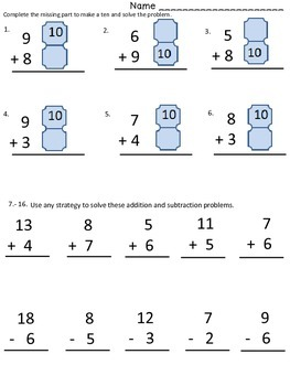 Mental Math Addition Subtraction to 20 Assessment OA.B2