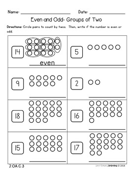 2nd Grade, Even and Odd Numbers- No Prep Practice Worksheets