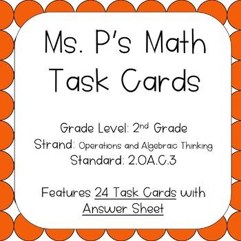 2.OA.C.3 Determining Even or Odd Task Cards