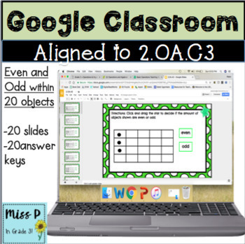 2.OA.C3 Google Classroom Identify Even and Odd within 20 Objects