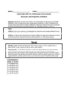 2-PS1-1 1-PS1-2 Properties of Matter Performance Assessment