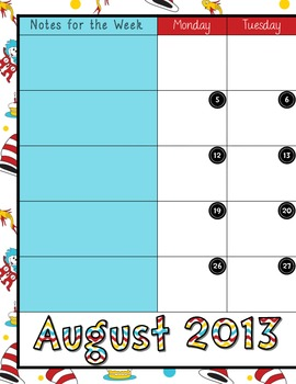 2-Page 2013/2014 Calendar for your Teacher Binder - August Free Sample
