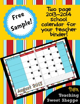 2-Page 2013/2014 Calendar for your Teacher Binder - August