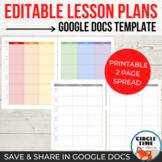 Google Docs Lesson Plan Template EDITABLE 2 Page Weekly Teacher Planner 4 Binder