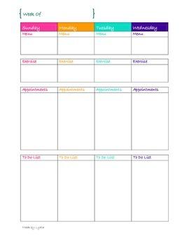2 Page Per Week Calendar