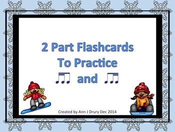 2 Part Flashcards to Practice Ti-Ti-ka and Ti-ka-Ti - Winter Themed