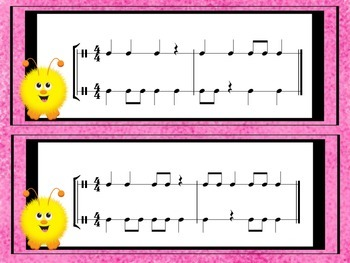 2 Part Rhythm Flashcards for Practicing Ta, Ti-Ti and Z