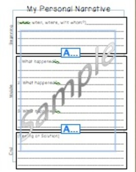 2 Personal Narrative Planning Pages - with lines and without