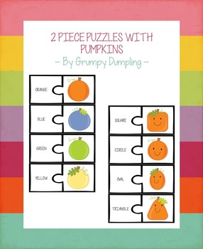 Free 2 Piece Puzzles With Pumpkins {Color and Shape Recognition}