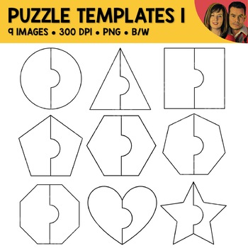 2 piece shape puzzle template clipart by nicole and eliceo clipart