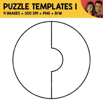 2-Piece Shape Puzzle Template Clipart